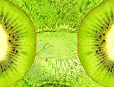 Adesivo Fundo do alimento com fatias de kiwi verdes.