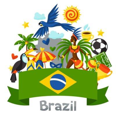 Adesivo Fundo do Brasil com objetos estilizados e símbolos culturais