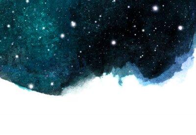 Adesivo Fundo do céu da noite da aguarela com estrelas. disposição cósmica com espaço para o texto.