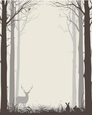 Adesivo Fundo natural com silhuetas de árvores e animais