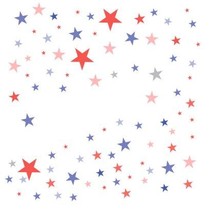 Adesivo Fundo patriótico de Estados Unidos nas cores da bandeira com estrelas maçantes desbotadas espalhadas sobre um fundo branco
