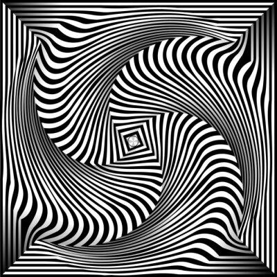 Adesivo Fundo preto e branco Opt Art