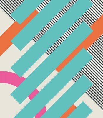 Adesivo Fundo retro abstrato 80s com formas geométricas e teste padrão. Design material.