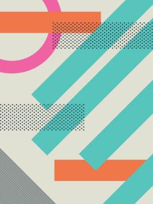 Adesivo Fundo retro abstrato 80s com formas geométricas e teste padrão. Papel de parede design material.