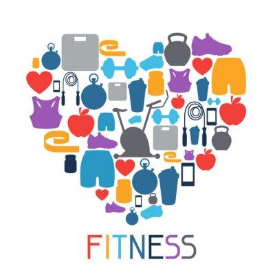 Adesivo Fundo Sports com ícones de fitness em estilo plano.