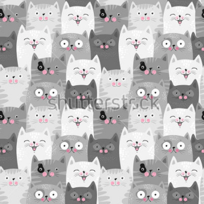 Adesivo Funny grey cats, cute seamless pattern background
