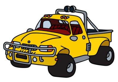 Adesivo Funny pic-kup amarelo / mão desenho, ilustração do vetor