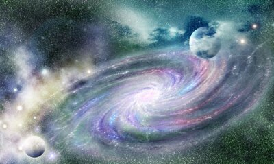 Adesivo galáxia espiral no universo