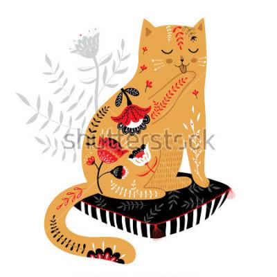 Adesivo gato bonito mão desenhada