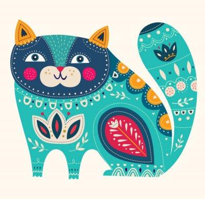 Adesivo Gato decorativo bonito do vetor na cor azul