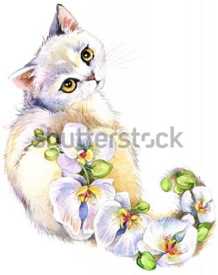 Adesivo Gato. Ilustração de aquarela de flor.