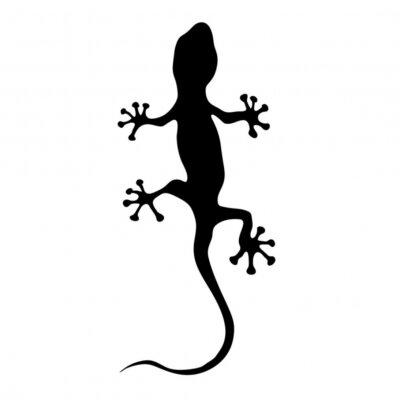 Adesivo gecko na ilustração do vetor da silhueta do preto