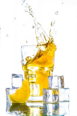 Adesivo Gelo, chá, limão, respingo