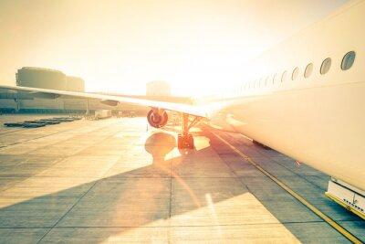 Adesivo Genérico, avião, terminal, portão, pronto, decolagem - modernos, internacional, aeroporto, pôr do sol