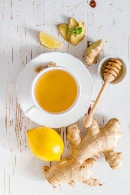 Adesivo Gengibre, chá, ingredientes, branca, madeira, fundo