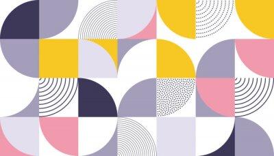 Adesivo Geométrico padrão de fundo vector com cor abstrata escandinava ou geometria suíça impressões de retângulos, quadrados e círculos forma design