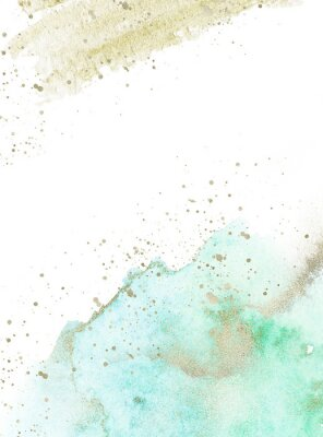 Adesivo Gold, blue and turquoise watercolor texture design. Brush stroke frame / border. Shimmering modern art. Illustration.
