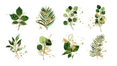Adesivo Gold green tropical leaves wedding bouquet with golden splatters isolated on white background. Floral foliage vector illustration arrangement in watercolor style. Botanical art design
