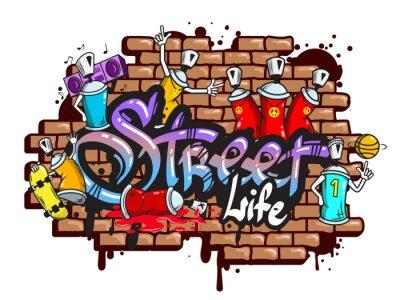 Adesivo Graffiti composição caracteres da palavra