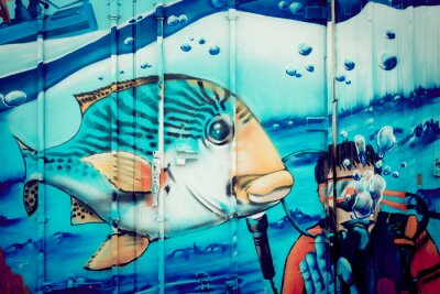 Adesivo Graffiti plongeur aquário