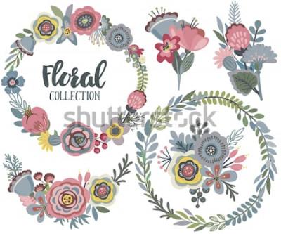 Adesivo Gráfico de vetor definido com lindas flores, grinalda floral, buquês. Coleção colorida para saudação, salvar os cartões de data, convites de casamento