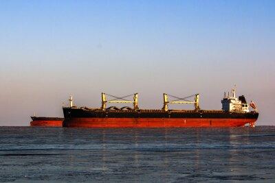 Adesivo Grande, petroleiro, fila, carregar, óleo, gelado, mar