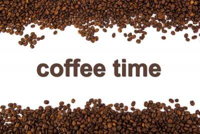Adesivo grãos de café torrados com título