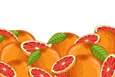 Adesivo Grapefruit isolado no fundo branco. Composição de grapefruit, plantas e folhas. Comida orgânica. Raster de toranja.