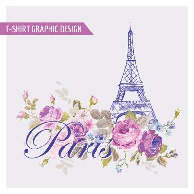 Adesivo Graphic Design Floral Paris - para t-shirt, moda, impressões