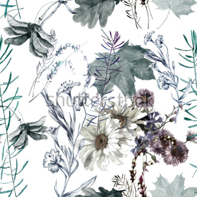 Adesivo grass flowers and leaves watercolor seamless pattern for fabrics, paper, wallpaper