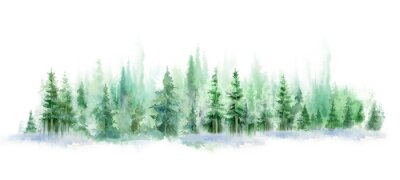 Adesivo Green landscape of foggy forest, winter hill. Wild nature, frozen, misty, taiga. watercolor background