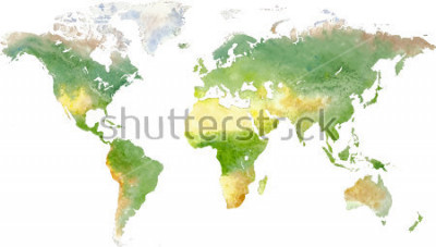 Adesivo Green vector world map in watercolor style