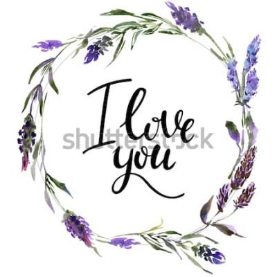 Adesivo Grinalda de flores dos namorados. Ilustração de flores em aquarela com a inscrição eu te amo