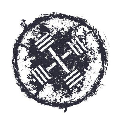 Adesivo grunge emblem with crossed barbells vector illustration, eps10
