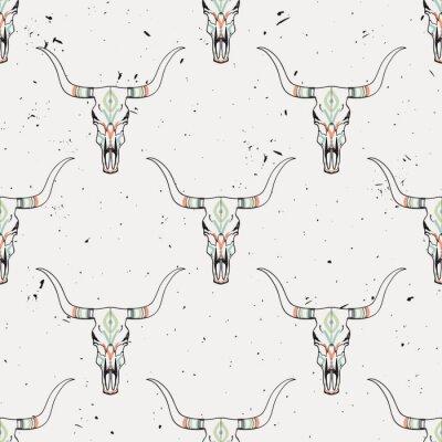 Adesivo Grunge, seamless, Padrão, touro, cranio, étnico, Ornamento