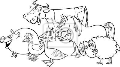 Grupo De Animais De Fazenda Dos Desenhos Animados Para Colorir