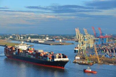 Adesivo Hamburger Hafen, Containerschiff, Recipiente, Schlepper, Vorhafen, Elba, Hamburgo