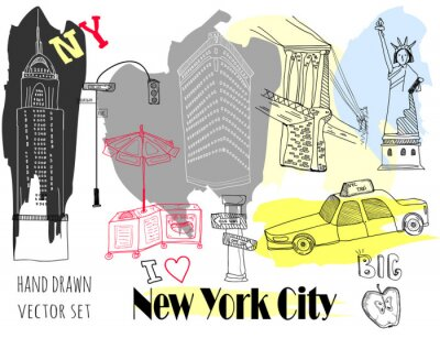Adesivo Hand drawn New York elements. Colored graphic vector set