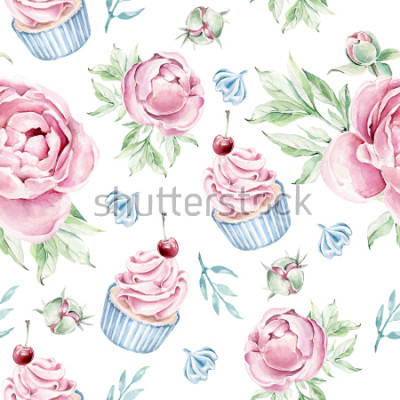 Adesivo Hand drawn watercolor pattern with cupcake and floral elements.Romantic concept.
