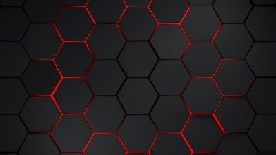 Adesivo Hexágonos cinza e vermelho ilustração de fundo moderna