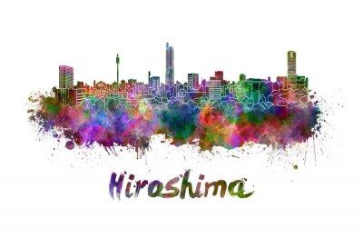 Adesivo Hiroshima, skyline, aquarela