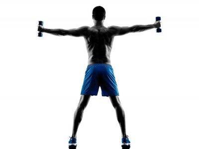 Adesivo Homem, exercitar, aptidão, pesos, silueta