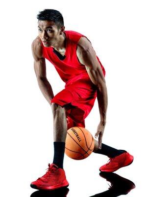 Adesivo homem jogador de basquete isolado silhueta