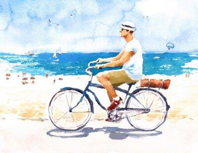 Adesivo Homem na cena da praia do verão da bicicleta Ilustração da aguarela pintada mão