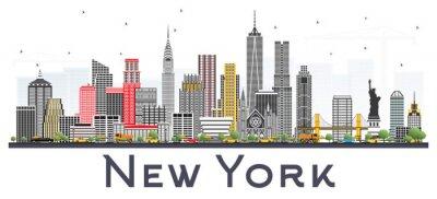 Adesivo Horizonte de New York EUA com os arranha-céus cinzentos isolados no fundo branco.