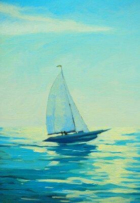 Adesivo Iate, vela, manhã, mediterrâneo, litoral, pintura