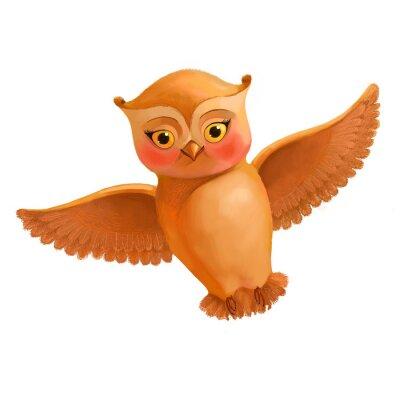 Adesivo Ícone da coruja do vôo. Ilustração no estilo dos desenhos animados de uma coruja marrom. S