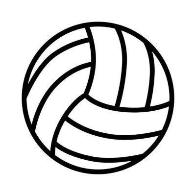 Adesivo Ícone de arte de linha de bola de voleibol para aplicativos e sites de esportes