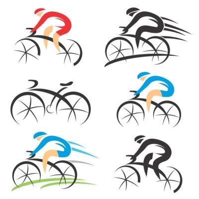 Adesivo Ícones com estilizado ciclista