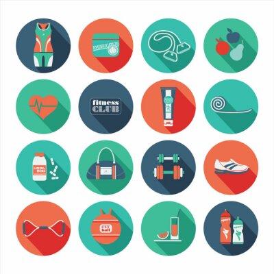 Adesivo Ícones da aptidão definida. Design plano